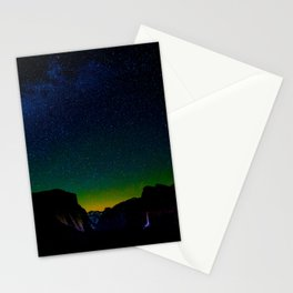 Starry Night Sky Stars Landscape Silhouette Colorful Green Turquoise Sky Ombre Stationery Cards