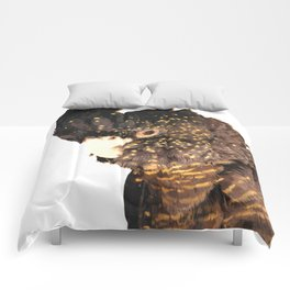 Black cockatoo illustration Comforters