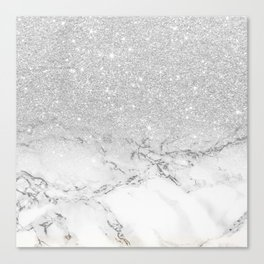 Modern faux grey silver glitter ombre white marble Canvas Print