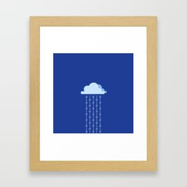 Digital rain on a blue background Framed Art Print