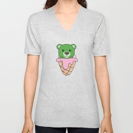 Green Bear In Ice Waffle Funny Animals In Essen Unisex V-Neck