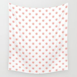 Scarlet Red on White Snowflakes Wall Tapestry