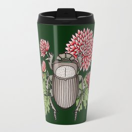 Beetle with Chrysanthemum - Dark Green Travel Mug