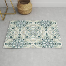 Forest Green & Neutral Taupe Detailed Lace Doodle Pattern Rug