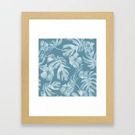 Tropical Escape Teal Blue Leaves + Hibiscus Framed Art Print