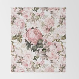 Vintage & Shabby Chic - Sepia Pink Roses  Throw Blanket