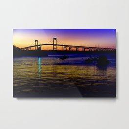 Newport Bridge - Newport, Rhode Island Purple Sunset Metal Print
