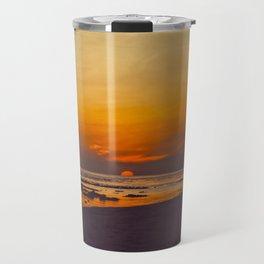 Vintage Sepia Orange Rustic Sunset Over The Ocean Travel Mug