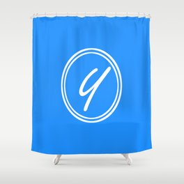 Monogram - Letter Y on Dodger Blue Background Shower Curtain