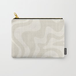 Liquid Swirl Contemporary Abstract Pattern in Barely-There Pale Beige and Light Cream  Carry-All Pouch
