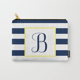 Monogram Letter B in Navy Blue it Yellow Outlined Box Carry-All Pouch