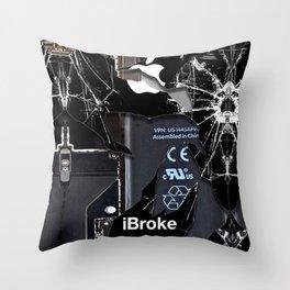Broken Damaged Cracked out handphone iPhone Throw Pillow