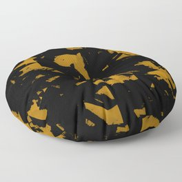Looking For Gold - Abstract gold and black painting Floor Pillow