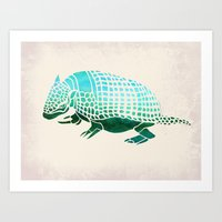 reassurance Art Prints featuring Watercolor Armadillo by Jacqueline Maldonado