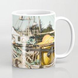Crab Pot Photograph, Ilwaco Washington Harbor, Northwest Fisherman Boat Photo, Crabber, Seafood Coffee Mug