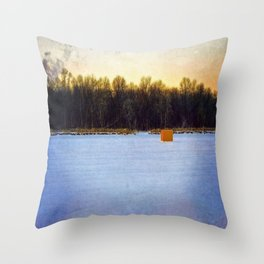 Ice Fishing Shanty Throw Pillow