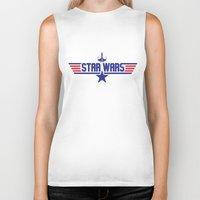 top gun Biker Tanks featuring Star Gun / Top Wars by Milo Firewater