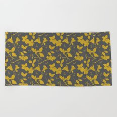 Drawings from Stonecrop Garden, Pattern in Gold & Grey Beach Towel