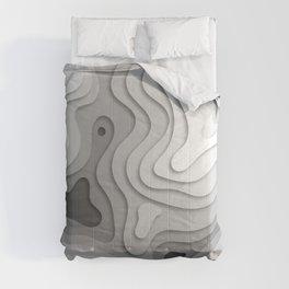 White Topographic Map Comforters