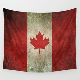 Old and Worn Distressed Vintage Flag of Canada Wall Tapestry