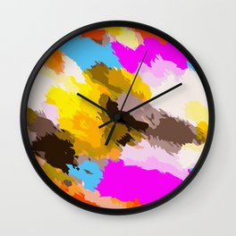 orange black yellow pink and blue painting abstract background Wall Clock