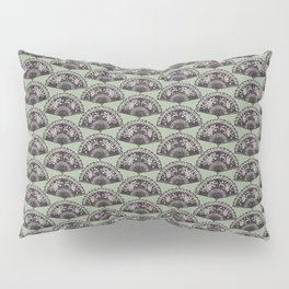 rows of Fans on mint Pillow Sham