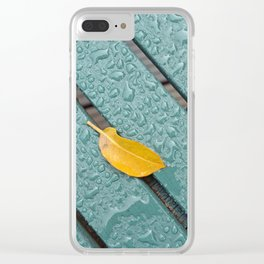 Yellow Leaf On A Green Bench With Rain Droplets Clear iPhone Case