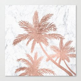 Tropical simple rose gold palm trees white marble Canvas Print