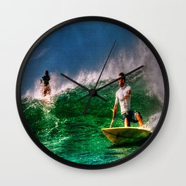 Surfing In Costa Rica Wall Clock