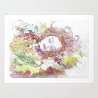 Girl Lying in Leaves Art Print