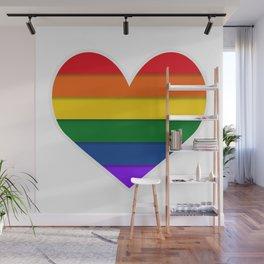 Heart shaped LGBT flag. Wall Mural