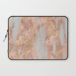 Rose Gold Marble with Yellow Gold Glitter Laptop Sleeve