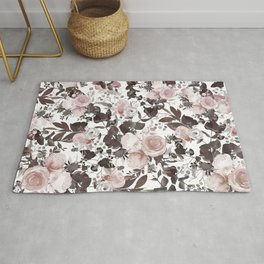 Country chic pink brown burgundy ivory watercolor roses Rug