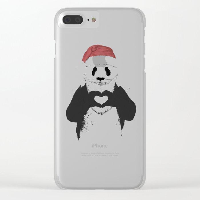 Santa panda Clear iPhone Case