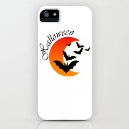 Blood bats and a bloody moon - Halloween  Design iPhone Case