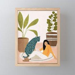 Girl and leopard Framed Mini Art Print
