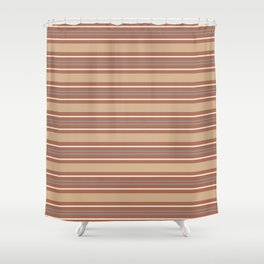 Cavern Clay SW 7701 Horizontal Line Pattern 6 and Accent Colors Shower Curtain