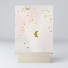 White pastel pale heart chakra universe Mini Art Print