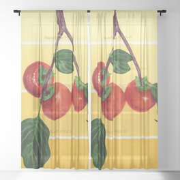 Persimmon Branch on Yellows Sheer Curtain
