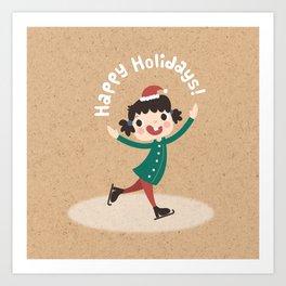 Holiday Ice Skating Art Print