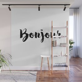 Black And White Bonjour Quote Wall Mural