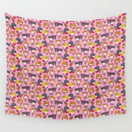 """Rockabilly Girl Band - Pink Wall Tapestry"