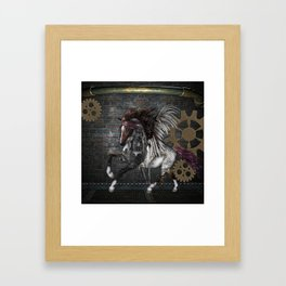 Steampunk, awesome steampunk horse with wings Framed Art Print