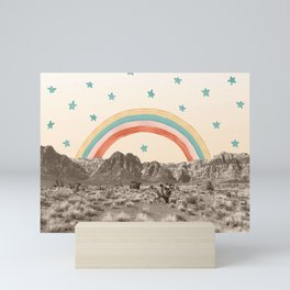 Canyon Desert Rainbow // Sierra Nevada Cactus Mountain Range Whimsical Painted Happy Stars Mini Art Print