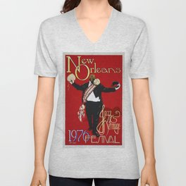 1976 New Orleans Jazz Festival Advertising Gig Poster Unisex V-Neck