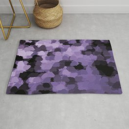 Dark abstract pattern on silver background Rug
