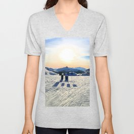 The snow, signs, shadows, sun, sky - and the surrounding! Unisex V-Neck