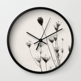 Minimalist Queen Anne's Lace in Silhouette Wall Clock