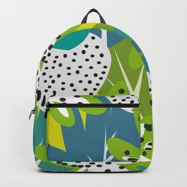 White strawberries and green leaves Backpack