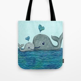 Whale Mom and Baby with Hearts in Gray and Turquoise Tote Bag
